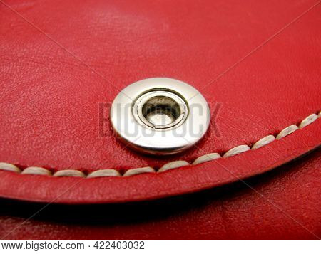 The Rivet Is Metal And The Seam Is Waxed Thread On The Red Wallet. Unopened.