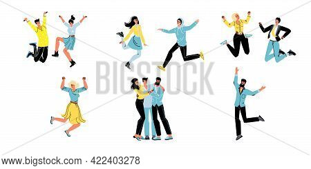 Set Of Vector Cartoon Flat Characters Friends Happy Hugging, Rejoice Together, Friendly Team Of Youn