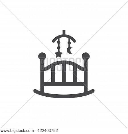 Baby Rocking Crib Or Cradle Swing Vector Icon. Black Glyph Symbol.