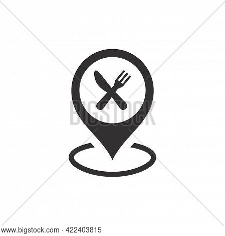 Location Pin With Crossed Knife And Fork Icon. Map Pointer For Restaurant, Diner.