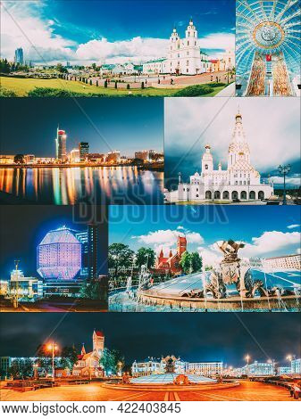 Minsk, Belarus. Set Collage With Many Local Famous Landmarks In Belarusian Capital. Red Church, Nati