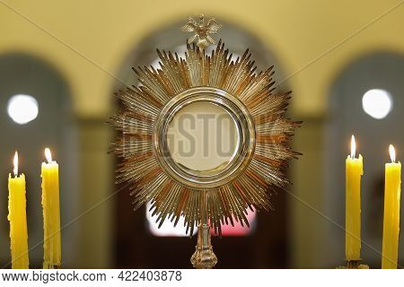 Ostensory - Rear View Of A Blessed Sacrament Exposed In A Catholic Church - Corpus Christi