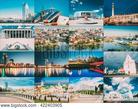 Minsk, Belarus. Set Collage With Many Local Famous Landmarks In Belarusian Capital. Old Town, Center