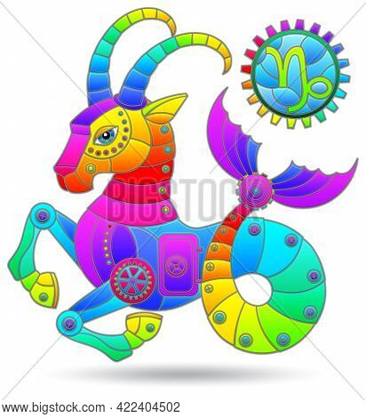 Illustration In The Style Of A Stained Glass Window With A Zodiac Signs Capricorn, Figure Isolated O