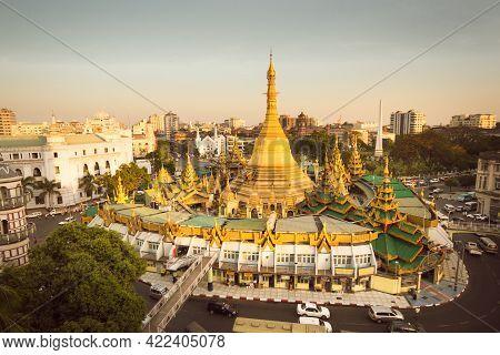 Sule Pagoda In Central Yangon, Myanmar, Burma.