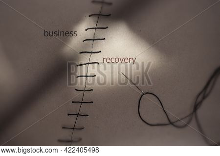 Torn Piece Of Paper Sewn Together With Business Recovery On Each Side