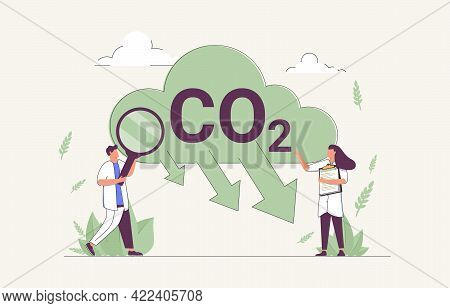 Co2 Reduction To Reduce Carbon Dioxide Greenhouse Gases Tiny Person Concept. Alternative Energy Usag