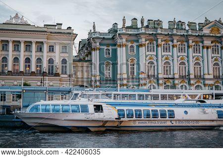 Saint-petersburg, Russia, 03 September 2020: High-speed Ship Meteor On Neva River.