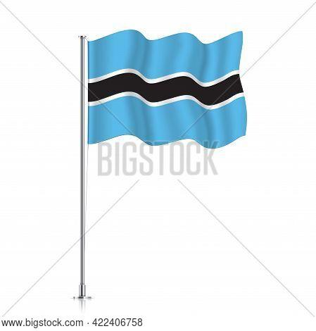 Botswana Flag Waving On A Metallic Pole.