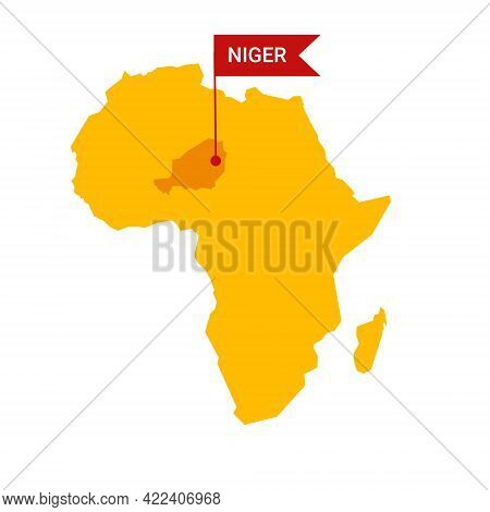 Niger On An Africa S Map With Word Chad On A Flag-shaped Marker.