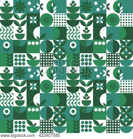 Microgreen Pattern Geometry In Abstract Style On Green Background. Vector Design Template. Nature Il