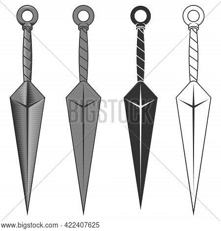 Vector Design Of Kunai Ninja Weapon, Used By Ninjas In Ancient Feudal Japan