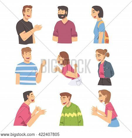 Cheerful People Talking And Gesturing Set, Young Men And Women Discussing Latest News Or Gossiping C