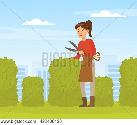 Young Woman Trimming Hedge With Shears, Female Gardener Working In Garden Vector Illustration