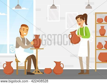Man And Woman Potters Making Clay Pots At Workshop, Craft Hobby Or Profession Vector Illustration