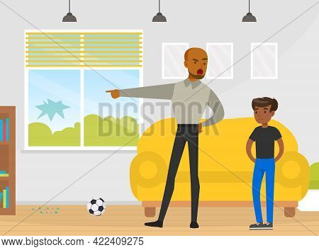 Father Scolding Naughty Boy Who Broke Window In Living Room With Ball Vector Illustration