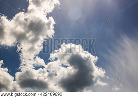 Sunlit Clouds In The Sky And Trees, Beautiful Nature