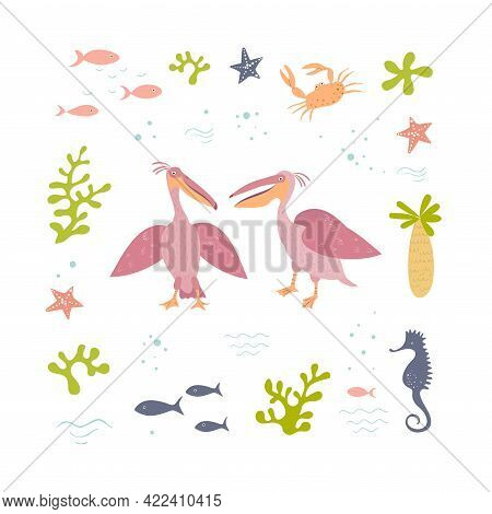 Vector Set Of Two Pink Pelicans And Sea Items. Pelicans In A Marine Frame. Hand Drawn Illusatration.