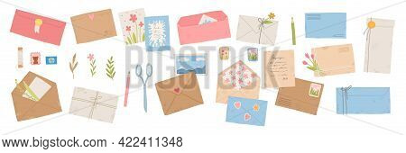 Collection Of Different Envelopes With Mail, Postmarks And Postcards Vector Flat, Cartoon Illustrati