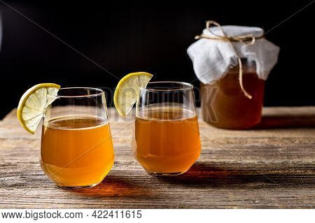 Raw Fermented Homemade Alcoholic Or Non Alcogolic Kombucha Superfood. Ice Tea With Healthy Natural P