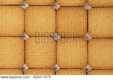 Square Cookies Stacked In Rows. Close-up Biscuit. Checkered Abstract Golden Texture Background