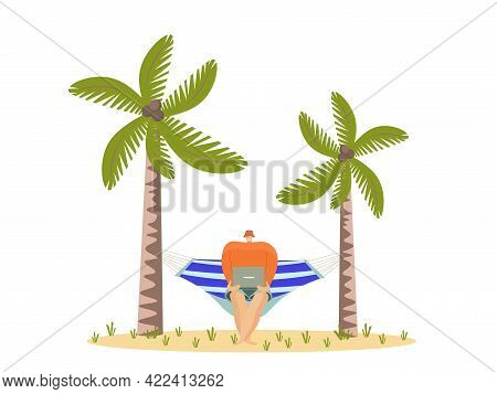 Freelancer Working With Laptop In Hammock On The Beach.