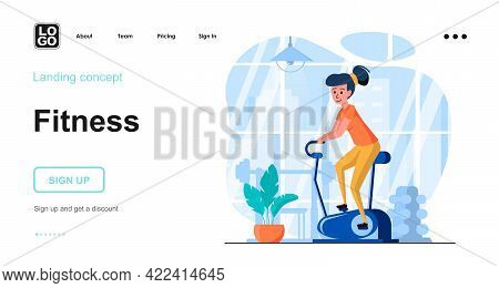 Fitness Web Concept. Woman Exercising On Sports Machine In Gym, Doing Cardio Workout, Training. Temp
