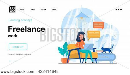 Freelance Work Web Concept. Woman Working On Laptop From Home Office, Freelancer Or Remote Worker. T