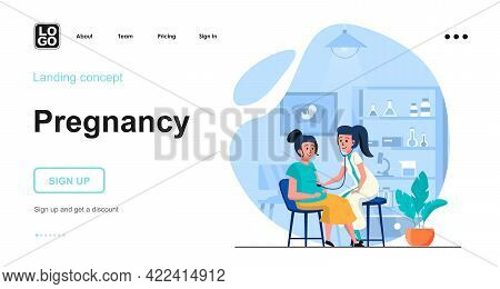 Pregnancy Web Concept. Pregnant Woman Visited Doctor, Checkup Her Health In Medical Clinic. Template