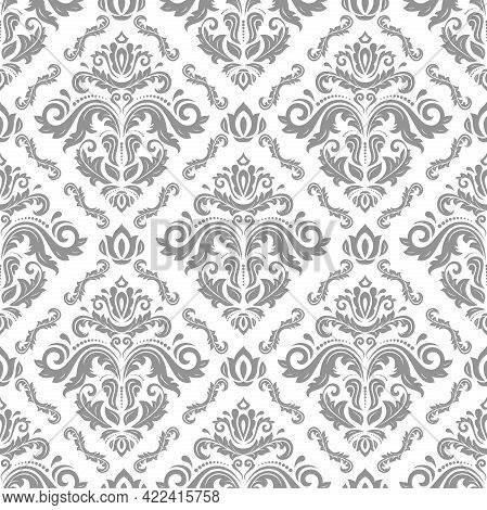 Classic Seamless Pattern. Damask Orient Ornament. Classic Vintage Background. Orient Light Silver Or