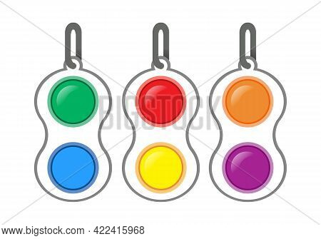 Simple Dimple Antistress Toy. Vector Set Isolated On White Background. Antistress Toys Fidget Sensor
