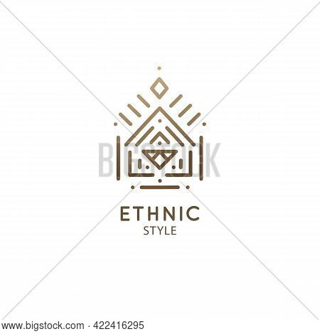 Vector Logo Of Geometric Elements Template. Squire Sacred Symbol. Outline Icon Of Abstract Shapes