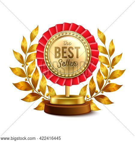 Best Seller Round Gold Medal And Laurel Wreath Highest Award Single Object Realistic Design Vector I