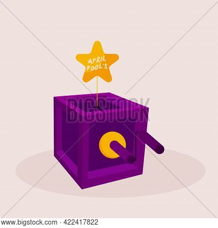 Isolated Box Star April Fools Humor Icon- Vector