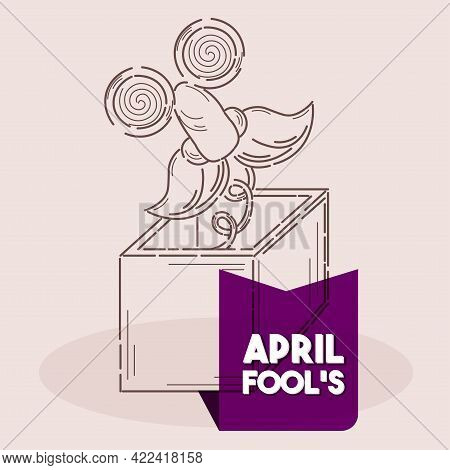 Isolated Box Face Fool Line April Fools Humor Icon- Vector