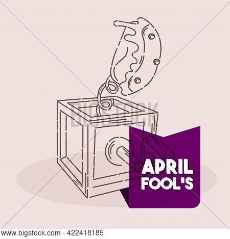 Isolated Box Cake Line April Fools Humor Icon- Vector