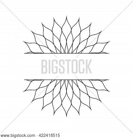 Abstract Linear Template In The Form Of A Snowflake Or A Flower For The Design Of Cards, Invitations