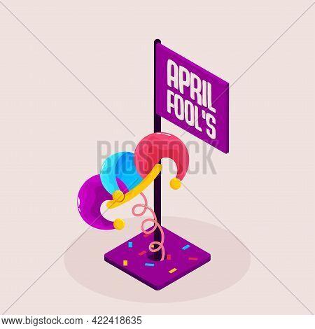 Isolated Arlequin Purple April Fools Humor Festival Vector Illustration