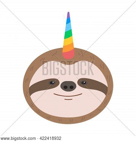 Funny Sloth Head With Unicorn Rainbow Horn Isolated On White Background. Vector Flat Illustration Fo