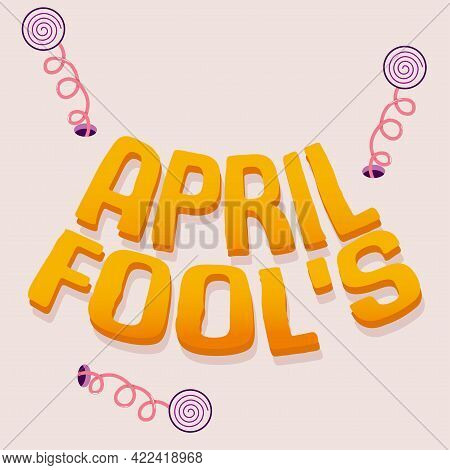 Isolated Letter Yellow April Fools Humor Festival Vector Illustration