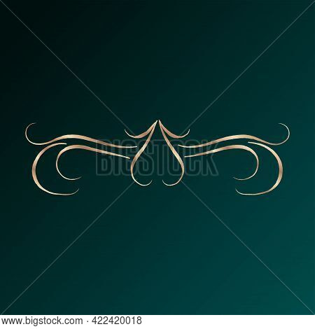 Gold Liner Arabesque Art Arabic Dark Background Vector Illustration