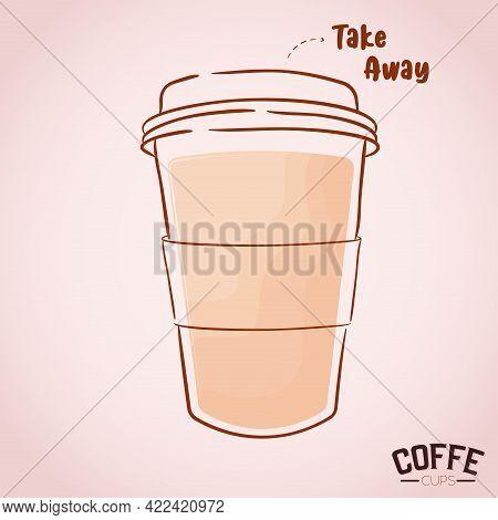Clear Cup Cartoon Coffee Drink Color Vector Illustration