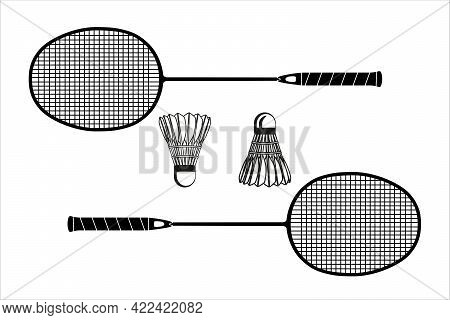 Two Badminton Racket And Shuttlecock Black Silhouettes, Vector Illustration Isolated On White Backgr