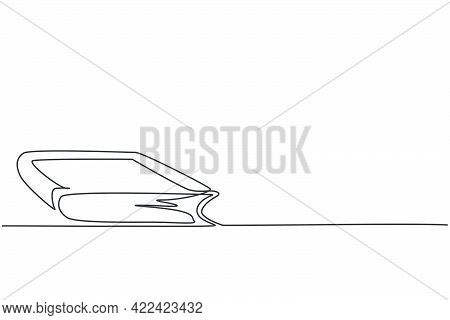 Single One Line Drawing Of Closed Dictionary Book On Library Desk. Back To School Minimalist, Educat