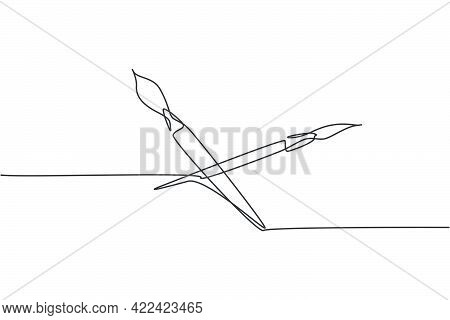 Single One Line Drawing Of Pair Paintbrush For Drawing Lesson With Watercolor. Back To School Minima