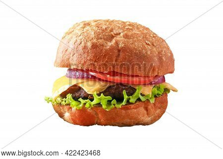 Homemade Hamburger With Cutlet, Salad, Onion, Tomato And Cheese. Cheeseburger, Burger Isolated On Wh