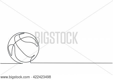 Single One Line Drawing Of Basketball On The Floor. Ball For Basketball Game. Back To School Minimal