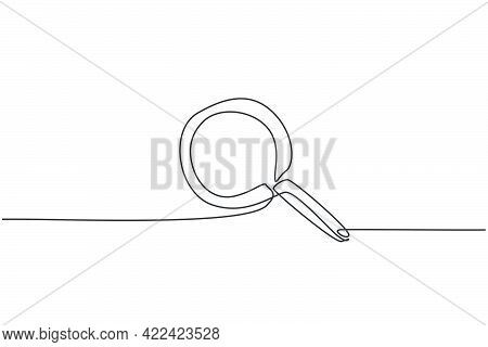 Continuous One Line Drawing Magnifier Zoom. Back To School Hand Drawn Minimalism Concept. Search Dis