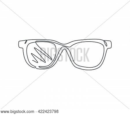 One Continuous Line Drawing Of Trendy Sunglasses Logo Emblem. Clean Glasses For Optical Shop Logotyp