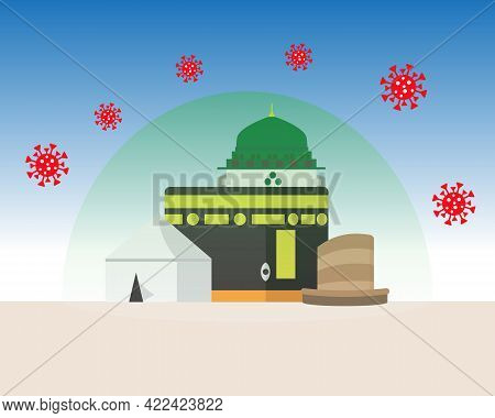 A Vector Of Hajj Places Need To Visit Kaaba, Arafah Tent, Nabawi Mosque, Jamrah, Protection Dome And